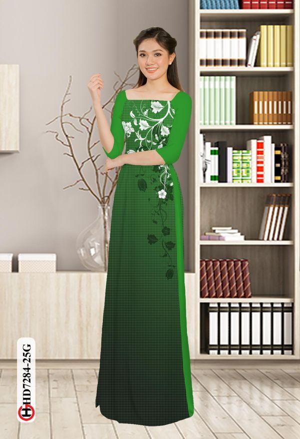 Vải áo dài hoa in 3D AD HD7284 4
