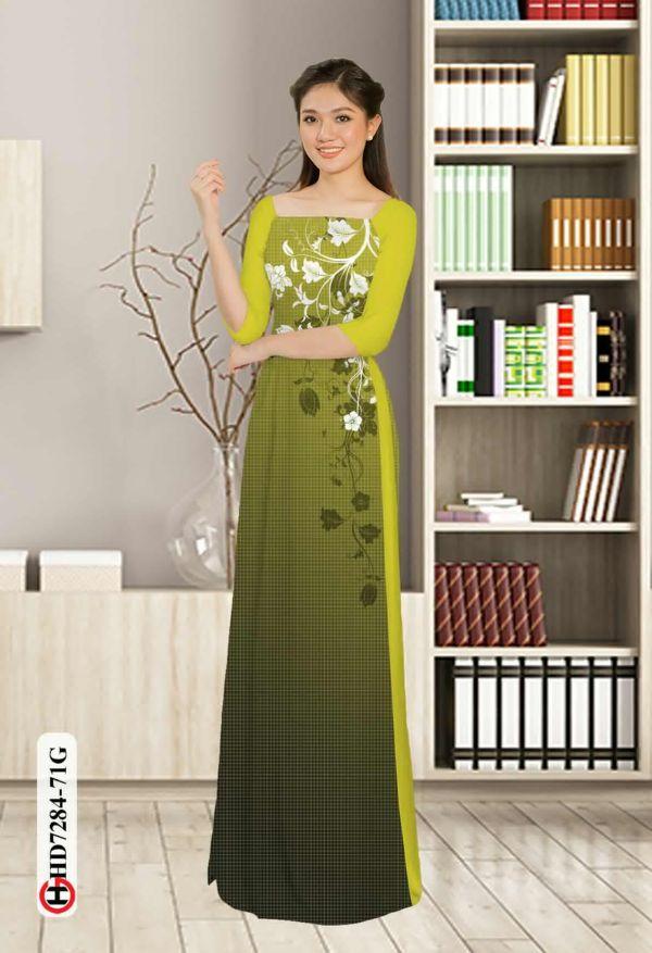 Vải áo dài hoa in 3D AD HD7284 14