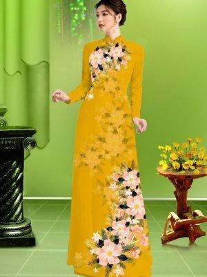 Vải áo dài hoa in 3D AD TRAD 5163 30