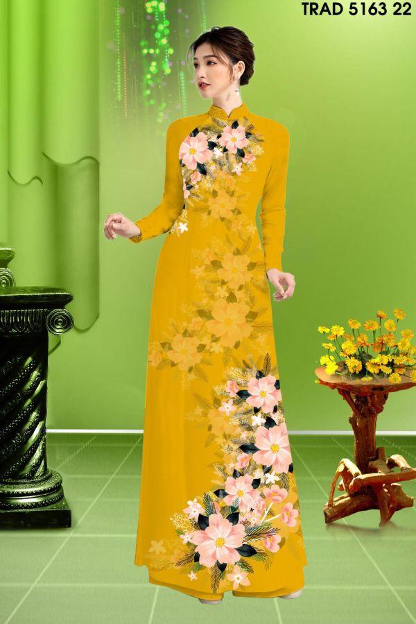 Vải áo dài hoa in 3D AD TRAD 5163 13