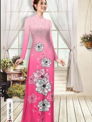 Vải áo dài hoa in 3D AD KC7282 27