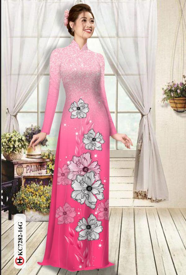 Vải áo dài hoa in 3D AD KC7282 14