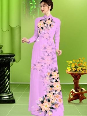 Vải áo dài hoa in 3D AD TRAD 5163 22