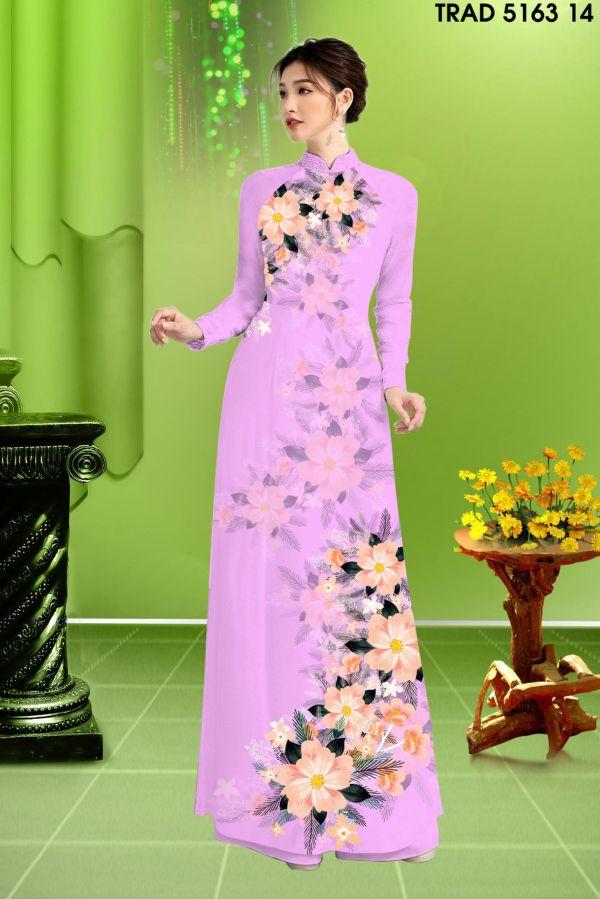 Vải áo dài hoa in 3D AD TRAD 5163 5