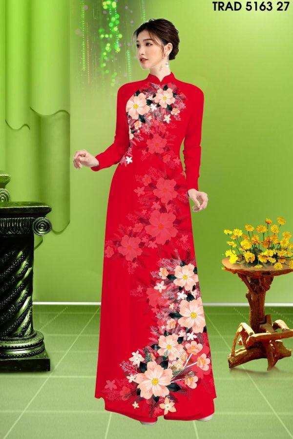 Vải áo dài hoa in 3D AD TRAD 5163 18