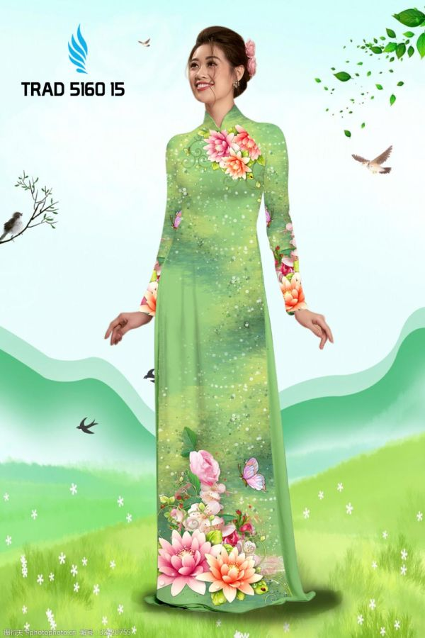 Vải áo dài hoa sen AD TRAD 5160 6