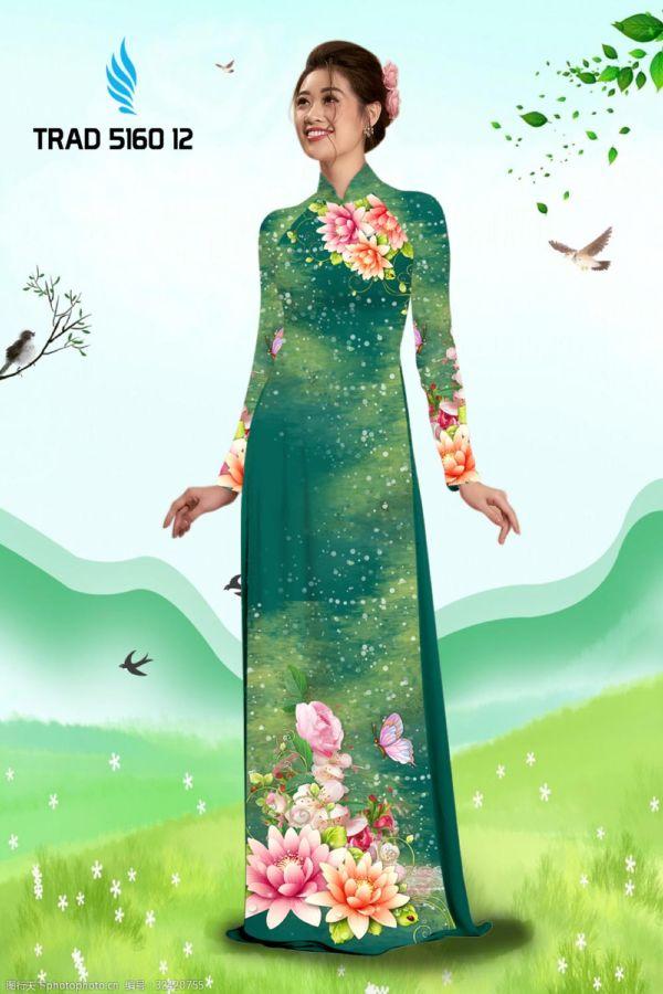 Vải áo dài hoa sen AD TRAD 5160 3