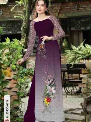 Vải áo dài hoa in 3D AD GH7456 26