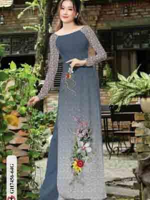 Vải áo dài hoa in 3D AD GH7456 29