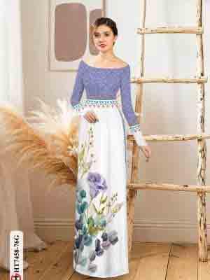 Vải áo dài hoa in 3D AD HT7458 26