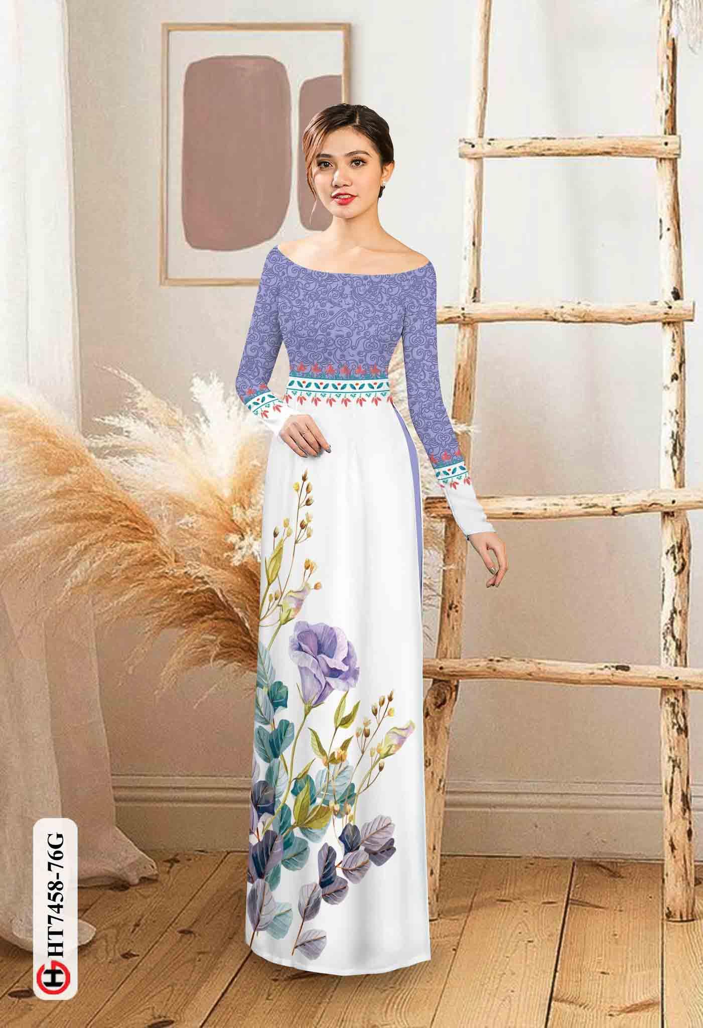 Vải áo dài hoa in 3D AD HT7458 40