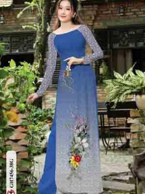 Vải áo dài hoa in 3D AD GH7456 22