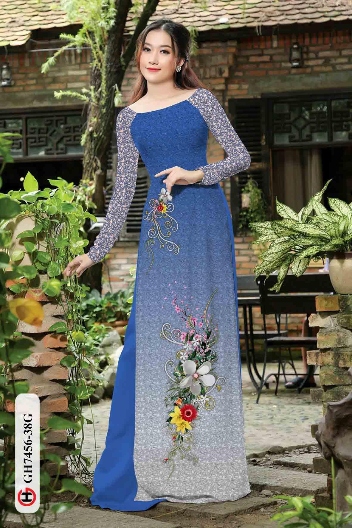 Vải áo dài hoa in 3D AD GH7456 37