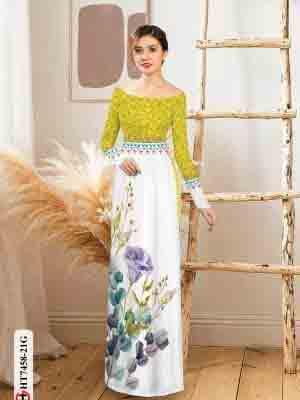 Vải áo dài hoa in 3D AD HT7458 21