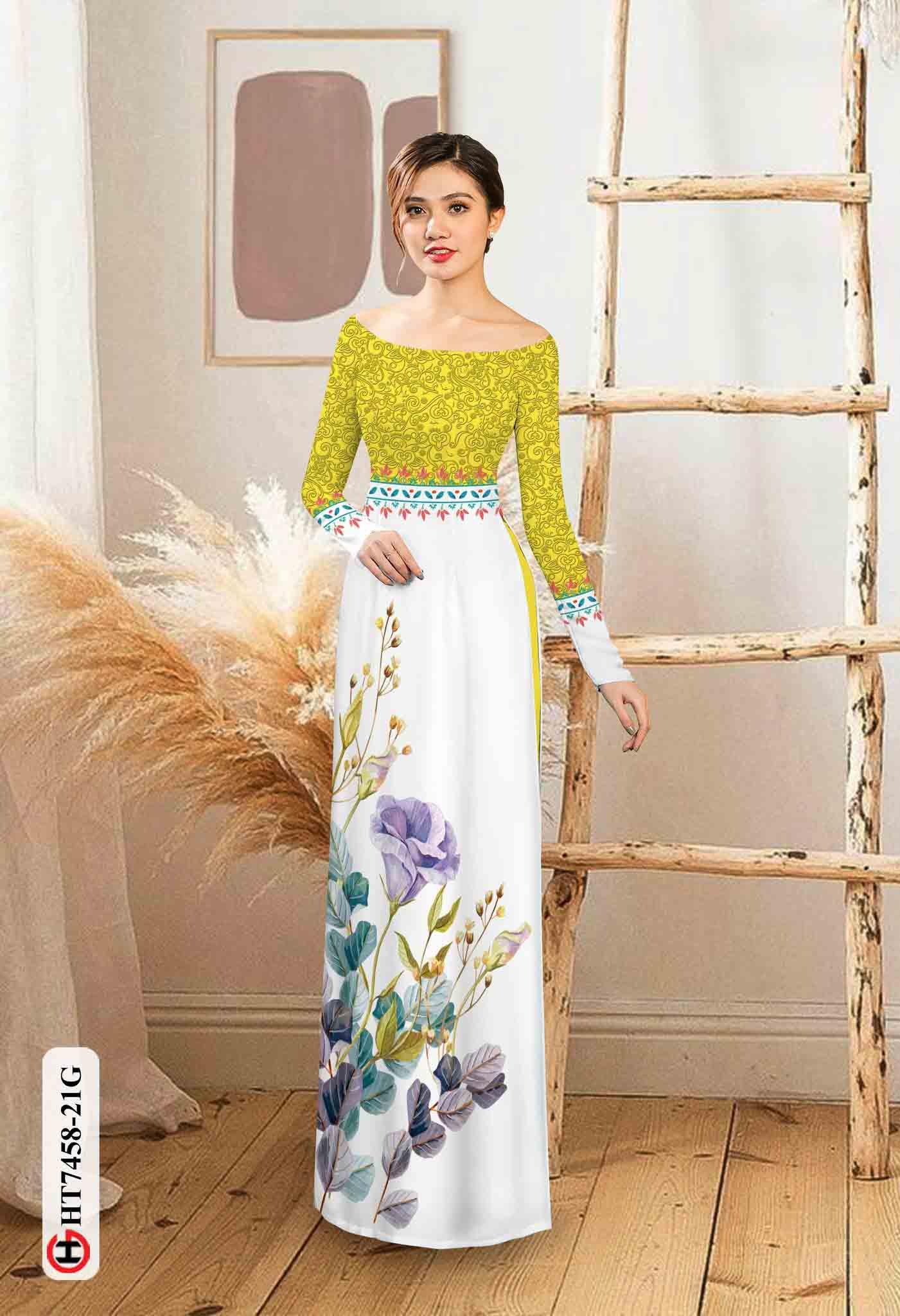 Vải áo dài hoa in 3D AD HT7458 35