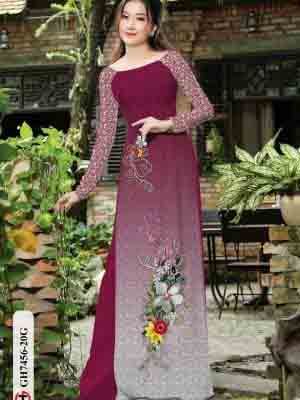 Vải áo dài hoa in 3D AD GH7456 24