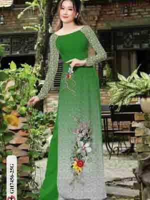 Vải áo dài hoa in 3D AD GH7456 21