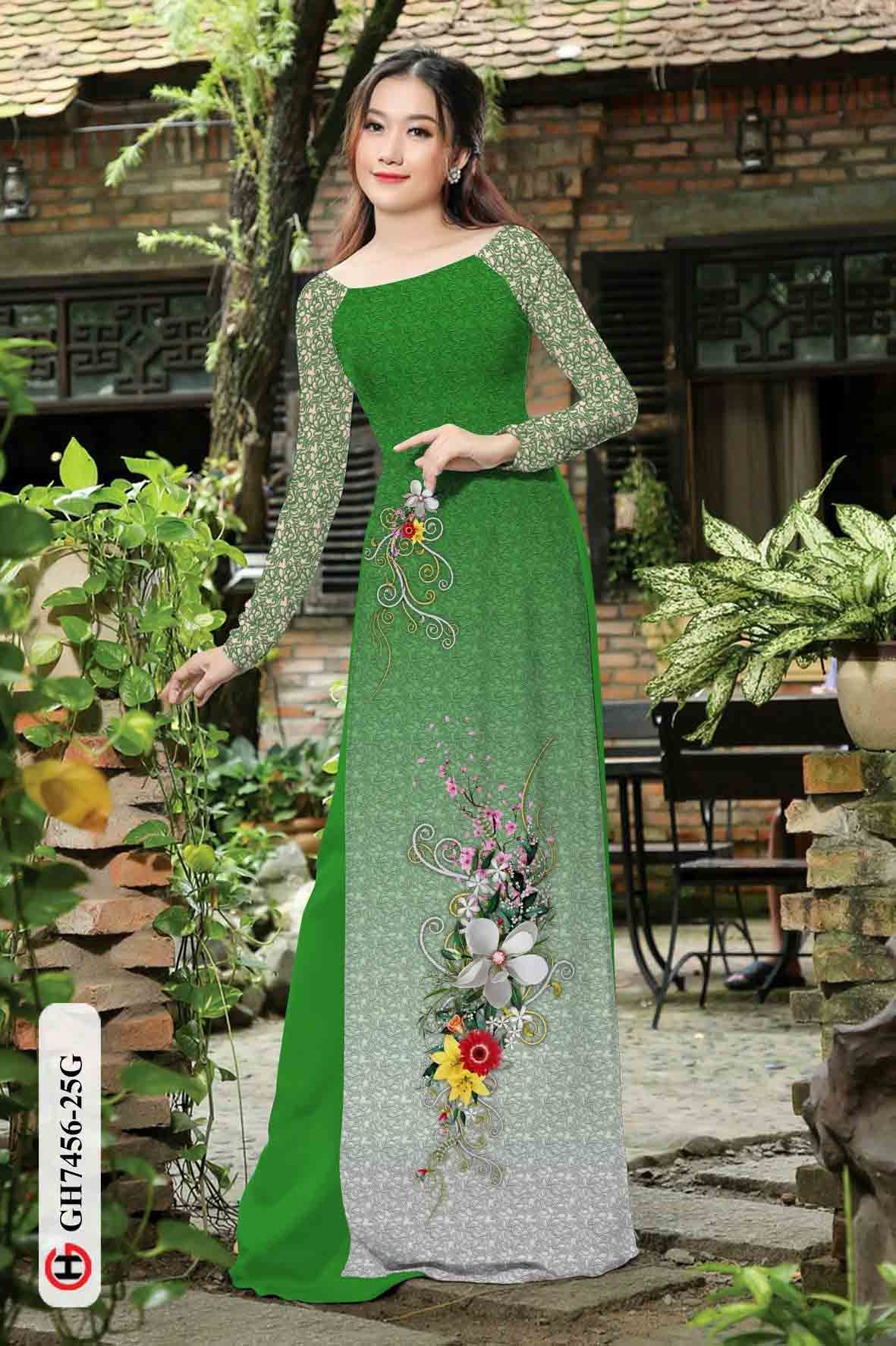 Vải áo dài hoa in 3D AD GH7456 36