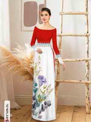 Vải áo dài hoa in 3D AD HT7458 19