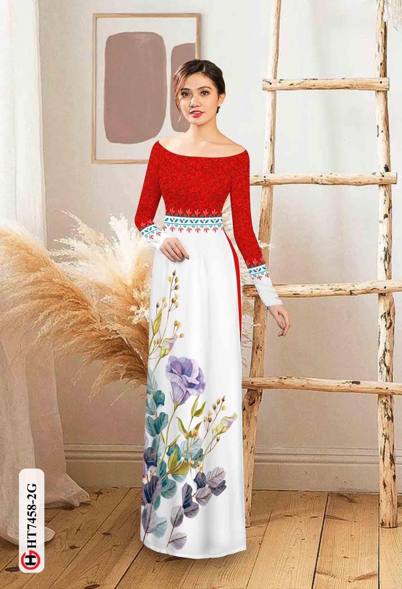 Vải áo dài hoa in 3D AD HT7458 33