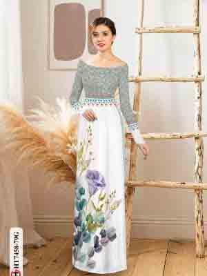 Vải áo dài hoa in 3D AD HT7458 25