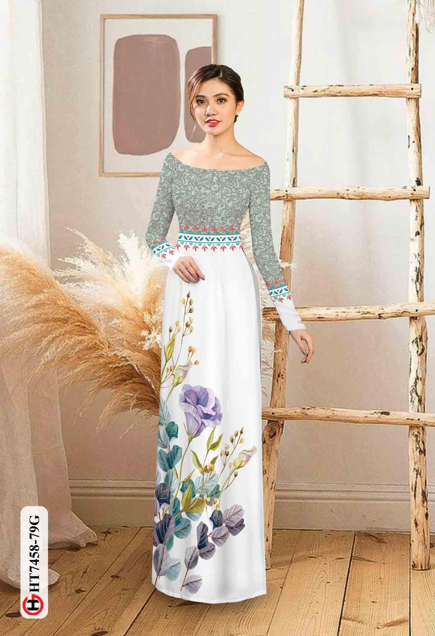 Vải áo dài hoa in 3D AD HT7458 39