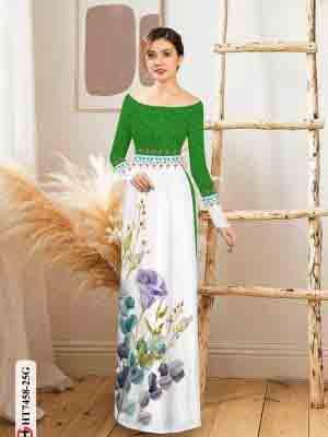 Vải áo dài hoa in 3D AD HT7458 18