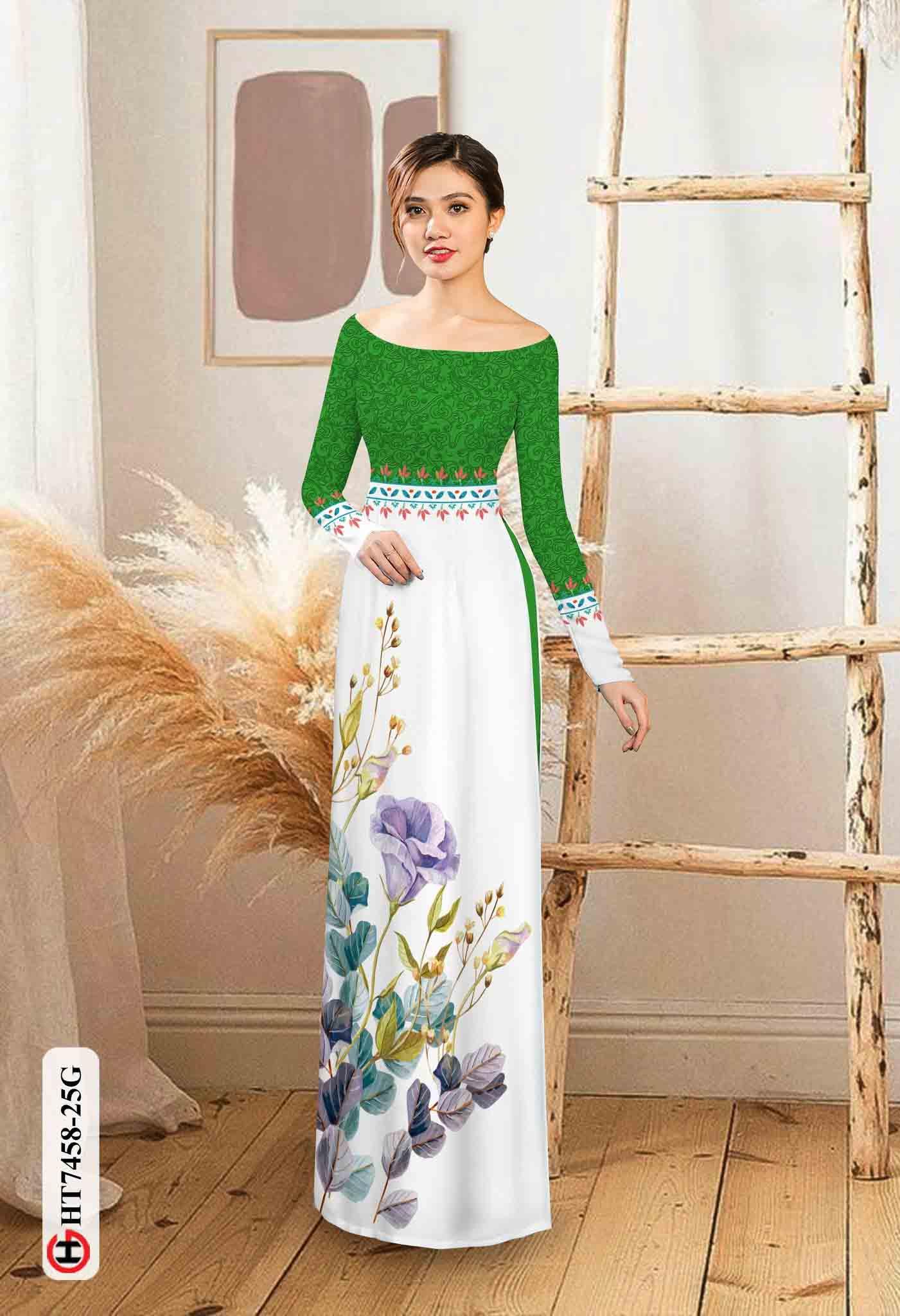 Vải áo dài hoa in 3D AD HT7458 32