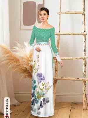 Vải áo dài hoa in 3D AD HT7458 20