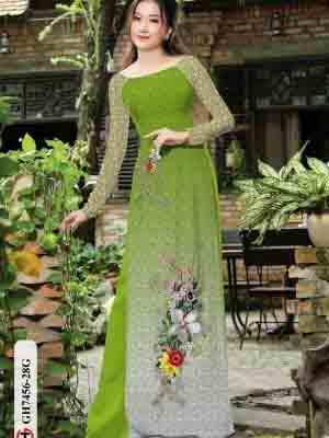 Vải áo dài hoa in 3D AD GH7456 25