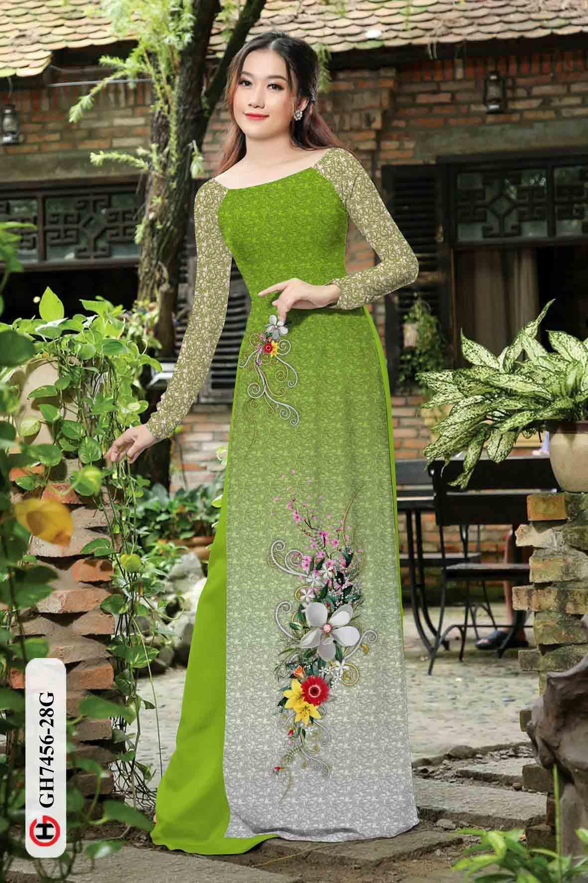 Vải áo dài hoa in 3D AD GH7456 40