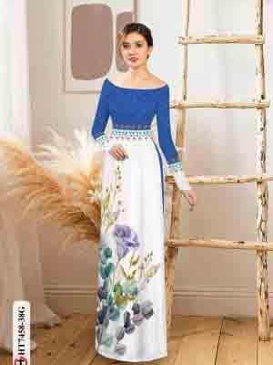 Vải áo dài hoa in 3D AD HT7458 22