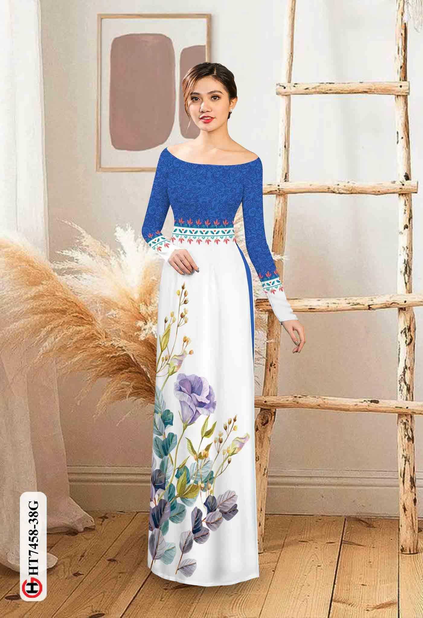 Vải áo dài hoa in 3D AD HT7458 36