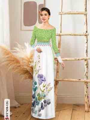 Vải áo dài hoa in 3D AD HT7458 17