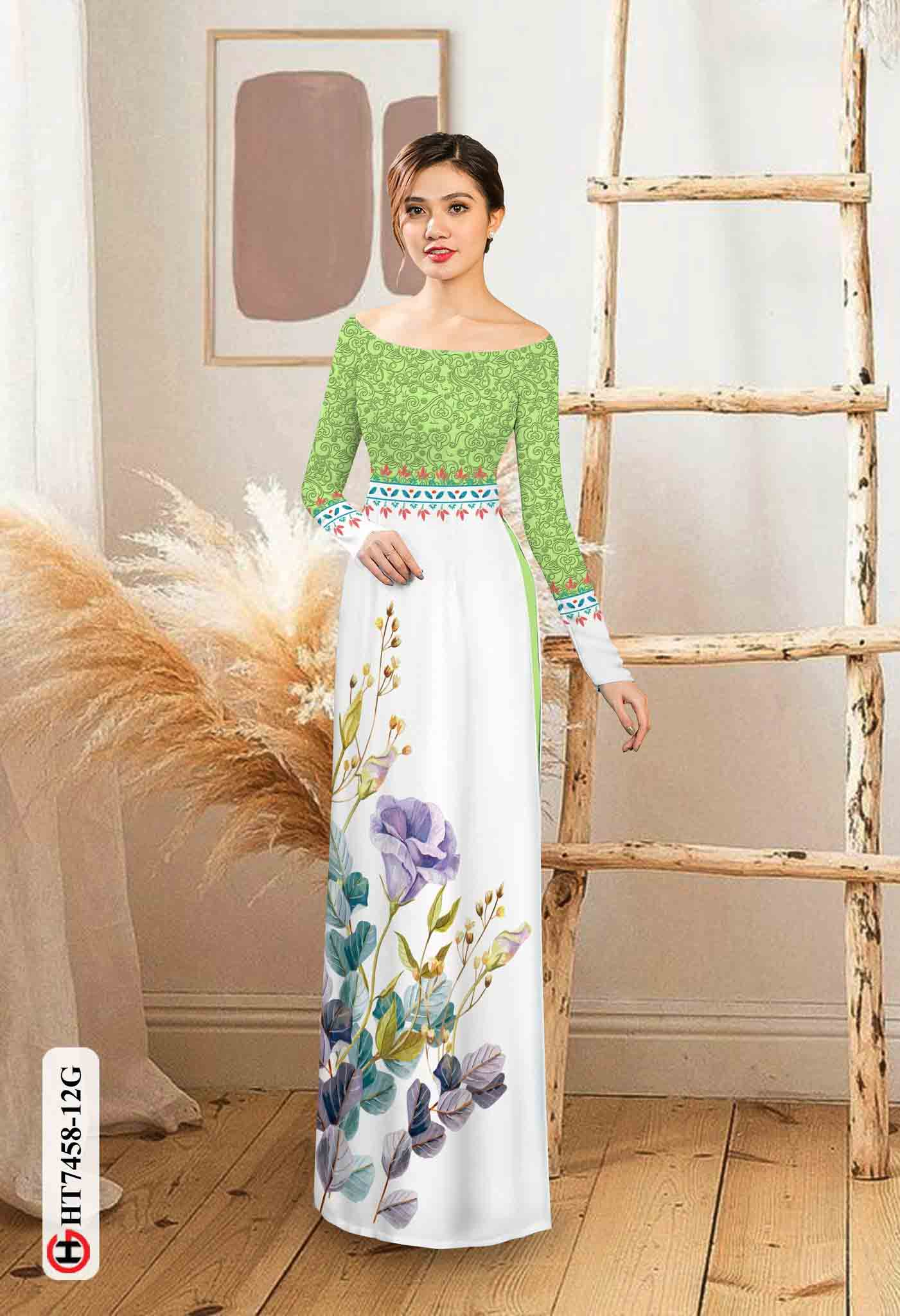 Vải áo dài hoa in 3D AD HT7458 31