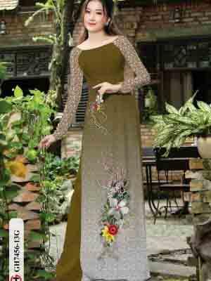 Vải áo dài hoa in 3D AD GH7456 16