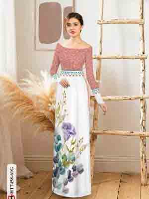 Vải áo dài hoa in 3D AD HT7458 15