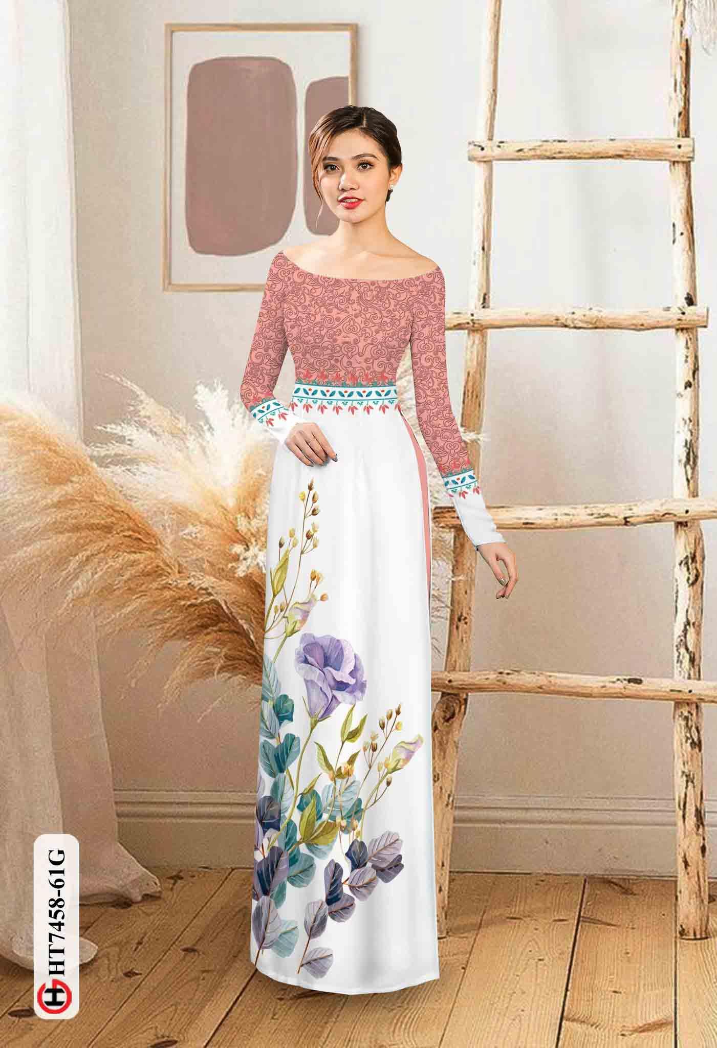 Vải áo dài hoa in 3D AD HT7458 29