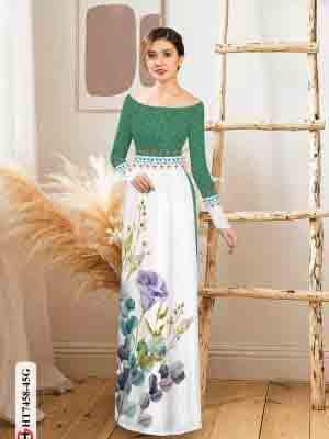 Vải áo dài hoa in 3D AD HT7458 23