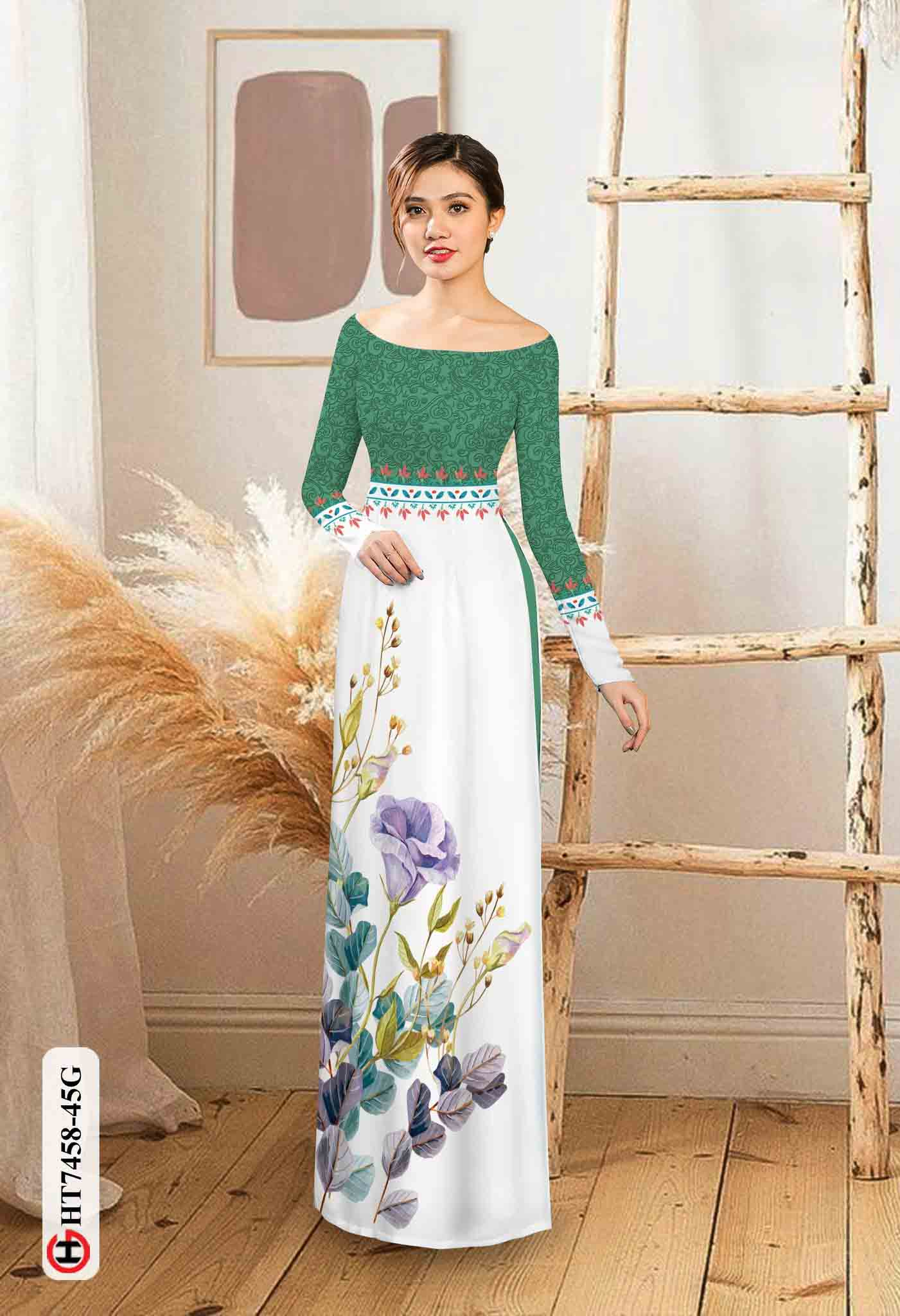 Vải áo dài hoa in 3D AD HT7458 37