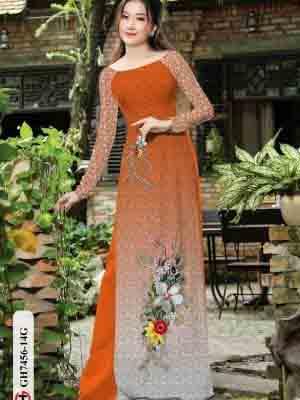 Vải áo dài hoa in 3D AD GH7456 18