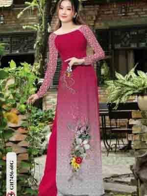 Vải áo dài hoa in 3D AD GH7456 23