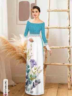 Vải áo dài hoa in 3D AD HT7458 16