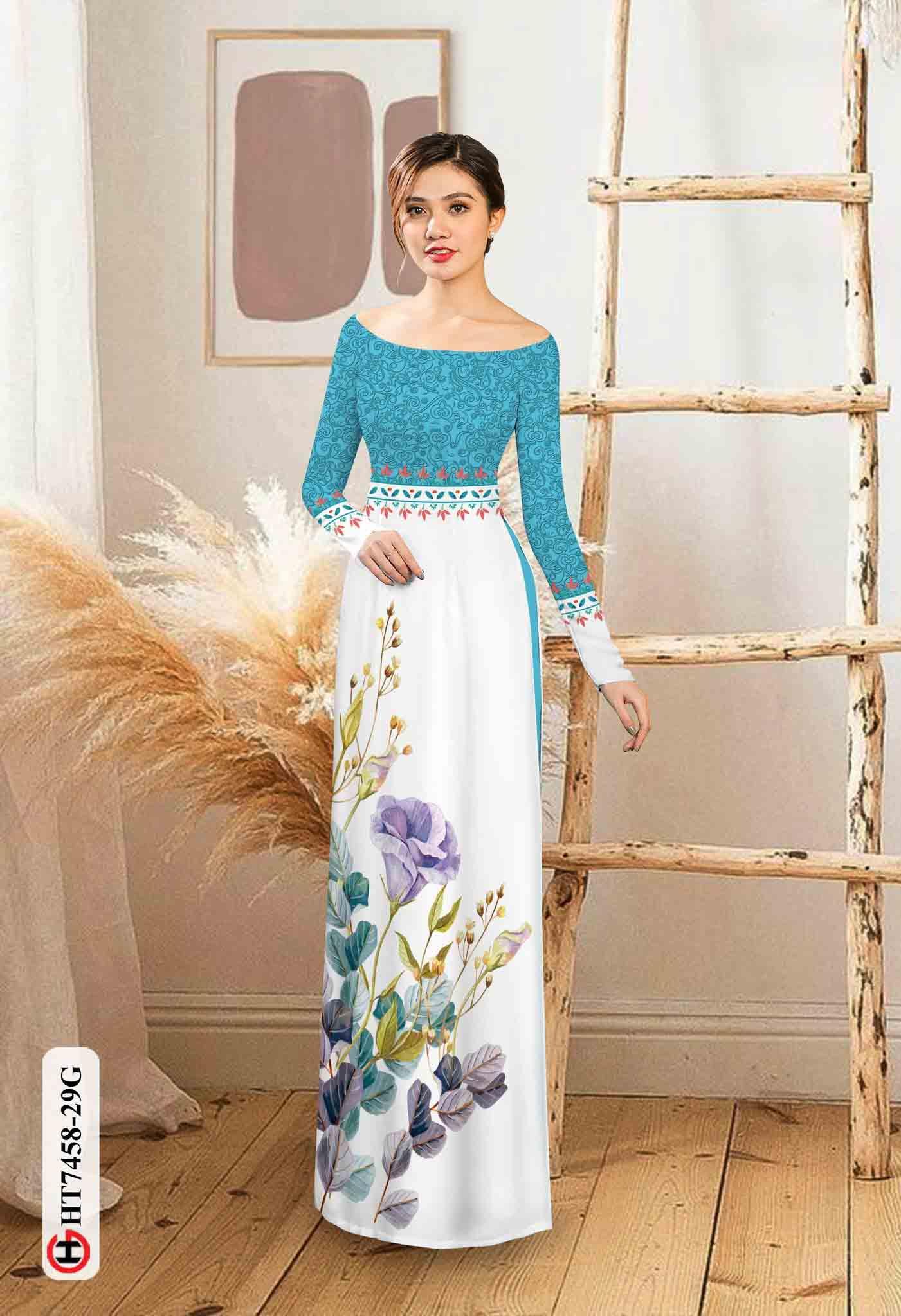 Vải áo dài hoa in 3D AD HT7458 30