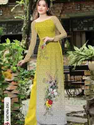 Vải áo dài hoa in 3D AD GH7456 19