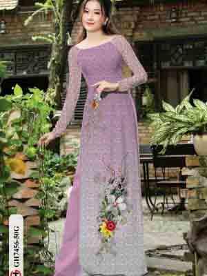 Vải áo dài hoa in 3D AD GH7456 28