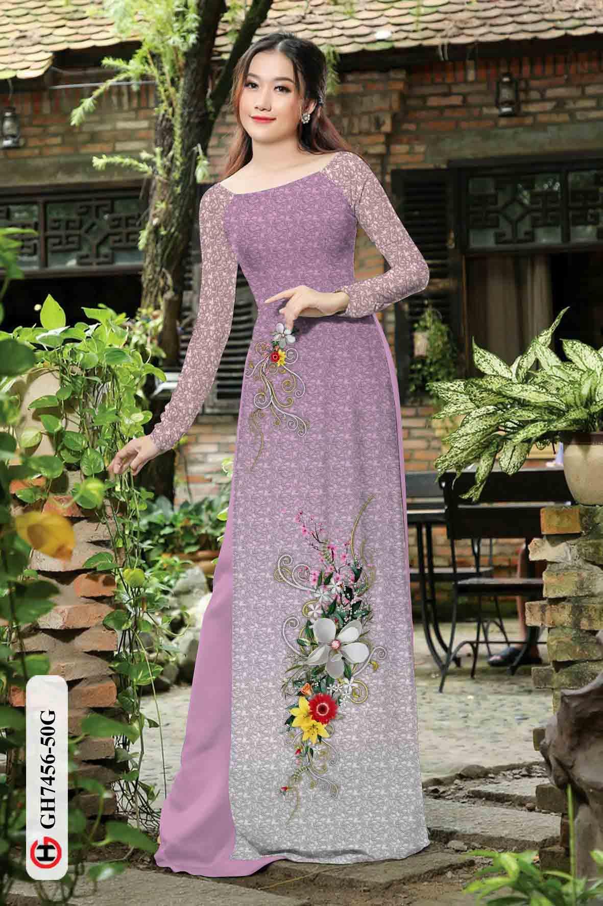 Vải áo dài hoa in 3D AD GH7456 43