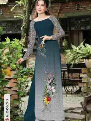 Vải áo dài hoa in 3D AD GH7456 17