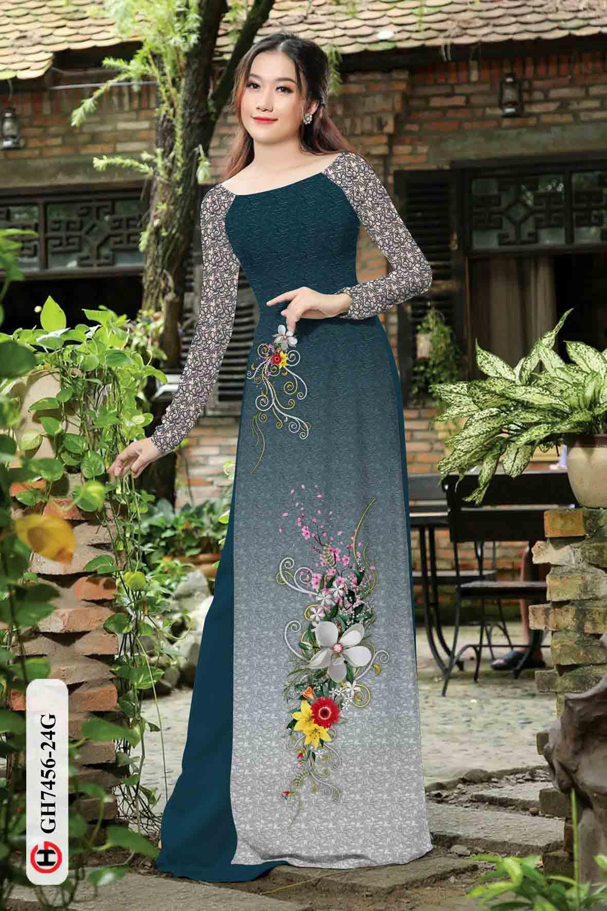 Vải áo dài hoa in 3D AD GH7456 32