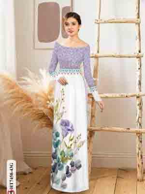Vải áo dài hoa in 3D AD HT7458 27
